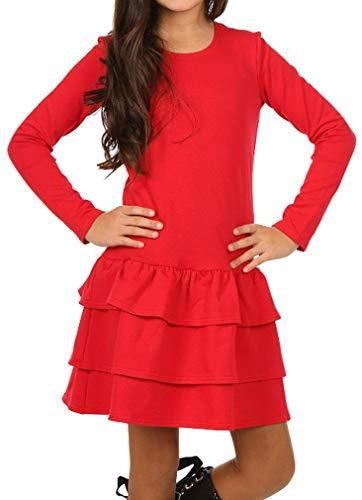 Dykmod Mädchen Kleid Falten Langarm Herbst Winter hk249 158 Rot