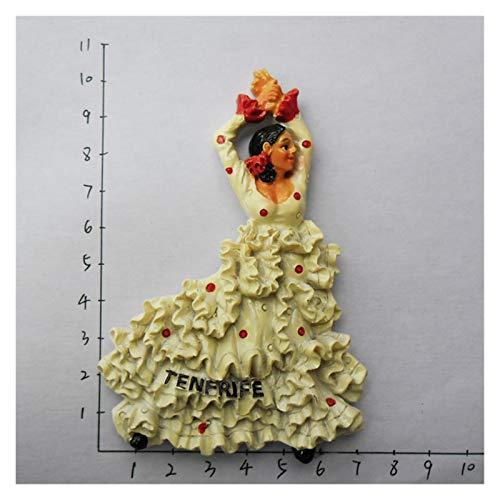 JSJJARF Imán de Nevera Frigorífico Imán De Recuerdos Flamenco Dancer Málaga Refrigerador 3D Pegatinas Magnéticas Ideas De Regalo (Color : 10)
