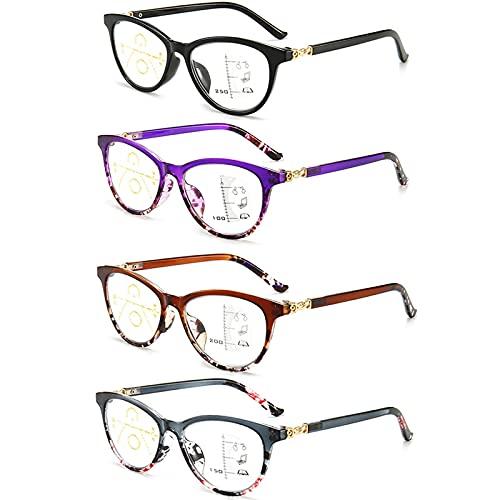 DXDUI Gafas De Lectura Luz Azul Ligeras Flexibles para Vista Antirreflejos Antirreflejos Montura Rectangular Moda Bisagra Resorte Cómoda para Mujeres Hombres 4 Piezas,+1.0