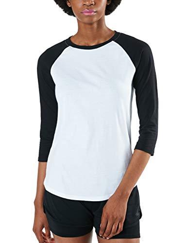 TSLA Women's 3/4 Sleeve Baseball Jersey Shirts, Casual Dynamic Cotton T-Shirt, Quarter Sleeve Raglan Tops, Dyna Cotton 3/4 Sleeve(fts32) - White & Black, Medium