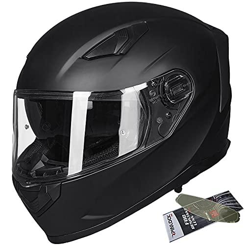ILM Motorcycle Snowmobile Full Face Helmet Pinlock Insert Anti-Fog Dual Visor Motocross ATV Casco for Men Women DOT (Matte Black, L)