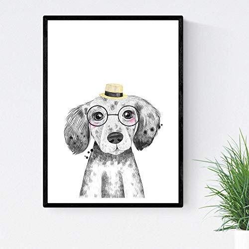 Blade voor honden hond drinkt met hoed en bril baby dieren poster A4-formaat Unframed