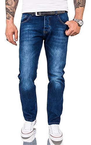 Rock Creek Herren Jeans Hose Comfort Fit Jeans Herrenjeans Herrenhose Denim Stonewashed Basic Weites Bein Raw RC-3120 Blau W38 L32