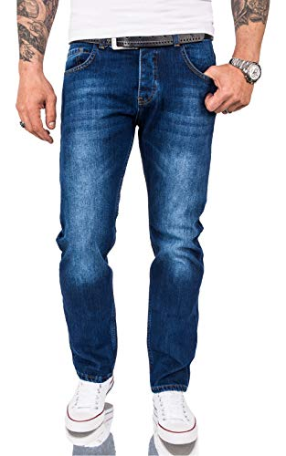 Rock Creek Herren Jeans Hose Comfort Fit Jeans Herrenjeans Herrenhose Denim Stonewashed Basic Weites Bein Raw RC-3120 Blau W36 L32