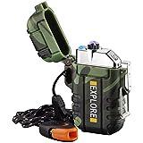 lcfun Lichtbogen Feuerzeug elektrisch, Wasserdicht Winddicht USB Feuerzeug wiederaufladbar, Plasmafeuerzeug Lighter mit Notfall-Pfeife für Camping, Survival Taktische-überlebensausrüstung (Tarnung)