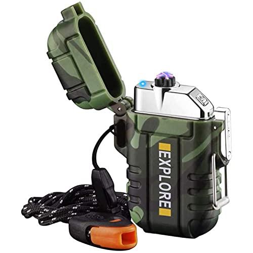 lcfun Lichtbogen Feuerzeug elektrisch, Wasserdicht Winddicht USB Feuerzeug wiederaufladbar, Plasmafeuerzeug mit Notfall-Pfeife für Camping, Abenteuer, Survival Taktische Ausrüstung (Tarnung)