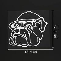 WZJH 13。9CMX12.8CM怒っている犬の頭部デカールビニール車のステッカーブラック/シルバー (Color Name : Silver)