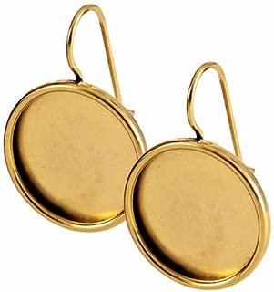 Nunn Design Antiqued 24kt Gold Plated Bezel Lg Round Earrings 1 Pair