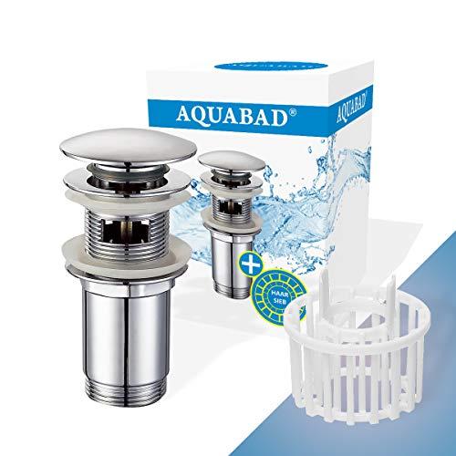 AQUABAD Click Clack CC32HS Ablaufgarnitur Set | Farbe: CHROM | Push Up Ventil für Waschbecken mit Überlauf | inkl. Haarsieb + Ersatz Dichtring | Standardschaft | Deckelform: Rund