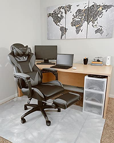 YOURLITEAMZ Racing Gaming Chair with Massage, Office Ergonomic Computer Desk Chair with Padded Footrest Support, Swivel High Back Recliner, High-Adjustable Cushion, PU Leather for Home Office(Grey)