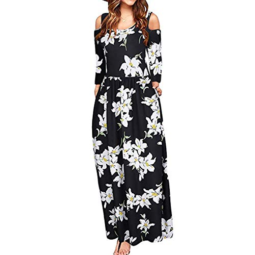 OTTATAT Women's Dresses,2020 Summer Newest Arrival Ladies Cold Shoulder Pocket Floral Print Elegant Maxi Short Sleeve Casual Women Plain T-Shirt Cover Up Pleated Tank V-Neck Pattern