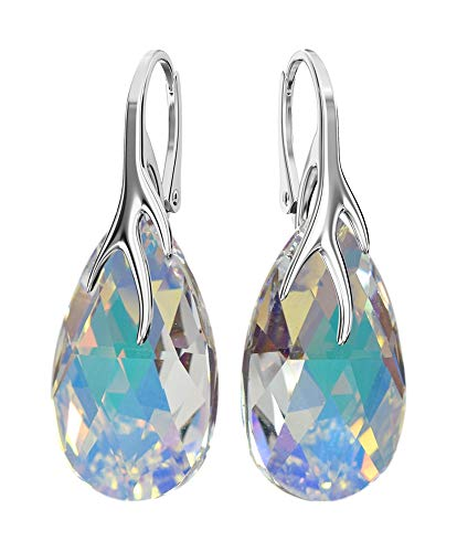 * Almond * 22 mm Colour Crystal AB Earrings with Crystals Compatible for Swarovski Ladies Earrings Lovely Earrings with Gift Box Ba/39