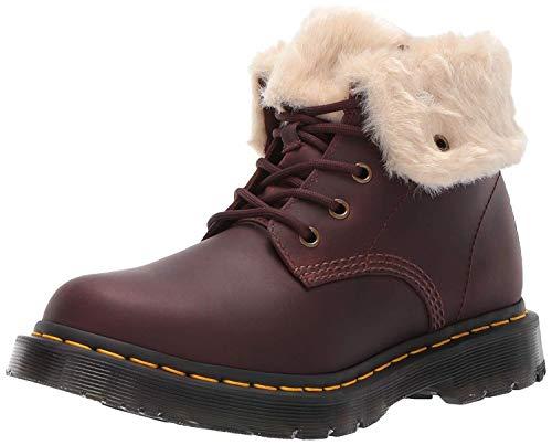 Dr. Martens Women's 1460 Kolbert Snow Boot, Dark Brown+Mustang Snowplow Wp+Waxy Waterproof Suede, 9