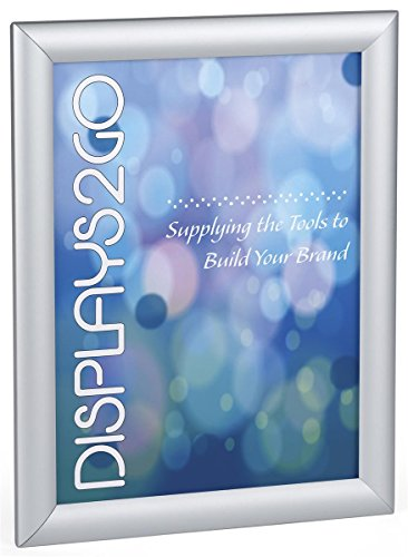 Displays2go Snap Open Sign Holder Frame, 8.5 x 11 Inch, Wall Mount or Tabletop, Silver Aluminum (WSNF8511SV)
