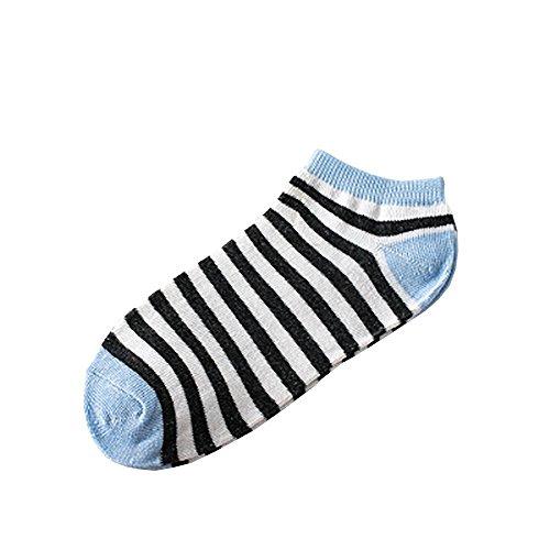 Zhen+ 1   5   10 Paar Damen   Mädchen Socken - Kurz Tube Socken Baumwollsocken - Streifen Sportsocken Lange Haltbarkeit l - Warme Crew Socken für Herbst und Winter (10 Paar, Hellblau)