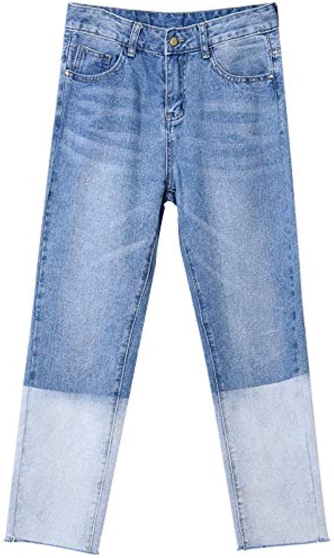 Light color Straight Jeans Women Loose Nine Pants Spring and Autumn 2019 New Contrast color Wide Leg Pants Long 8791cm (color   bluee, Size   28)