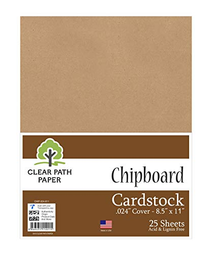 Chipboard - 8.5 x 11 inch - .024' Thick - 25 Sheets - Clear Path Paper