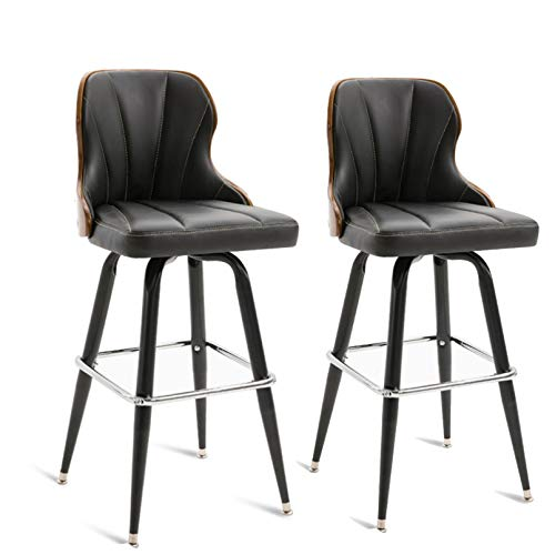 WANGJ-Chaise Height Bar Stools with Solid Wood Back, PU Leather Bar Counter Stools Modern Pub Kitchen High Dining Chairs,with Metal Base Dining Room Furniture - 350 Lbs Capacity