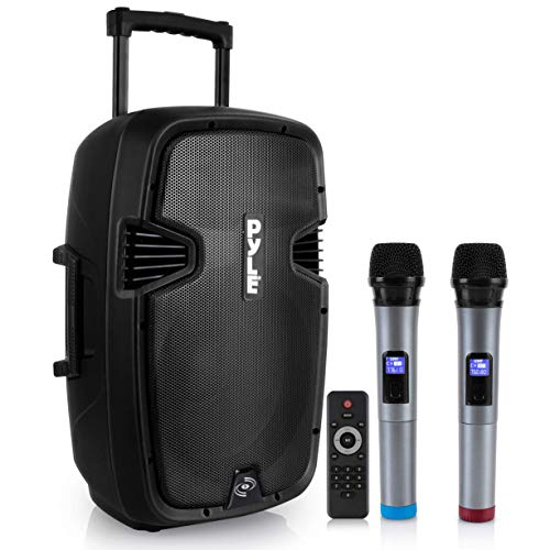 Karaoke Portable PA Speaker System - 1600W Active Powered Bluetooth Compatible Speaker, Rechargeable Battery, Easy Carry Wheels, USB MP3 RCA, FM Radio, 2 UHF Microphone, Remote - Pyle PPHP1599WU