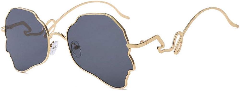 Lunettes de soleil de forme irrégulière, lunettes de soleil UV400 de style vintage, lunettes de soleil pour femmes et hommes, cadre noir gris Cadre Doré Gris