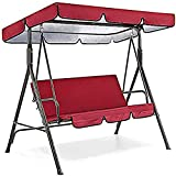 Patio Swing Canopy Waterproof Top Cover Set, Replacement Canopy Cover for Swing Chair Awning Glider Swing Cover All Weather Protection Outdoor Garden Furniture Covers (red, Three-Seater 75in) -  JHGF