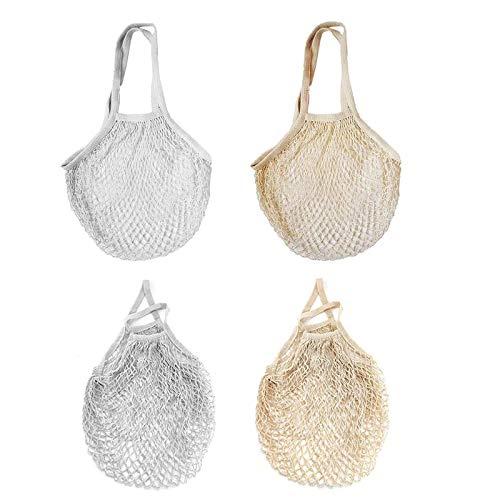 Gukasxi 4 Stück Baumwolle Einkaufsnetz Netzbeutel, Wiederverwendbare Netz Einkaufstasche Netzbeutel, Netz Tasche für Obst und Gemüse, Tragbar Einkaufsnetz Beutel zum Einkaufen, Aufbewahren
