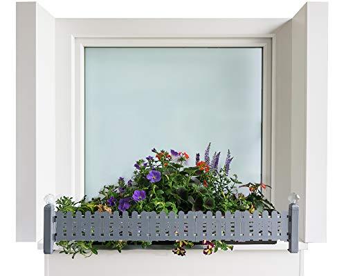 Bloembakhouder masu basisset past op elke vensterbank van 78 cm tot 140 cm zonder te boren, zonder de gevel te beschadigen (basisset: klassiek, signaalgrijs)