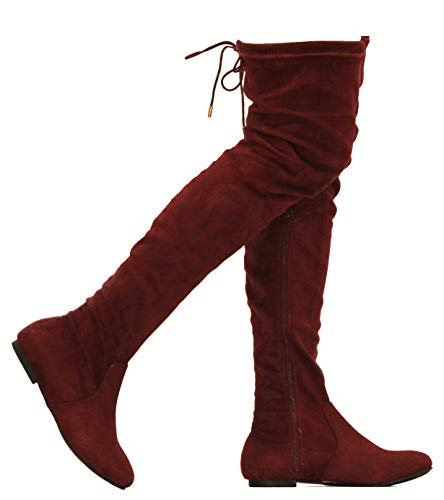 MVE Shoes Womens Fashionable Flat Over The Knee Boots - Comfortable Suede Adjustable Boots, Burgundy Suede 6