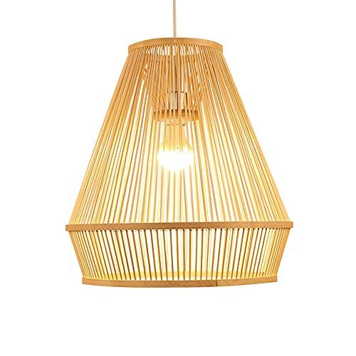 wangch Lámpara de techo empotrada, lámpara de araña tejida a mano de mimbre de ratán, pantalla de bambú, lámparas de decoración de iluminación E27, bar, restaurante, club, sala de estar, dormitorio, l