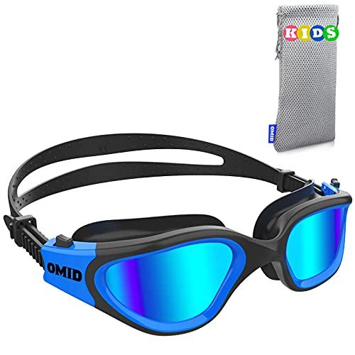 Kids Swim Goggles, OMID P2 Comfortable Polarized Unisex-child Swimming Goggles, Anti-Fog No Leaking Swim Goggles with UV Protection Age 6-14 (Black Blue)