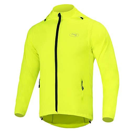 Dooy - Giacca da ciclismo da uomo, rimovibile, ad alta visibilità, giacca a vento (giallo, 2XL)