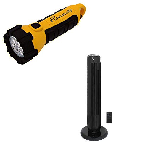 Toucan City LED Flashlight and SPT 36 in. Oscillating Tower Fan with Time and Remote SF-1536BK