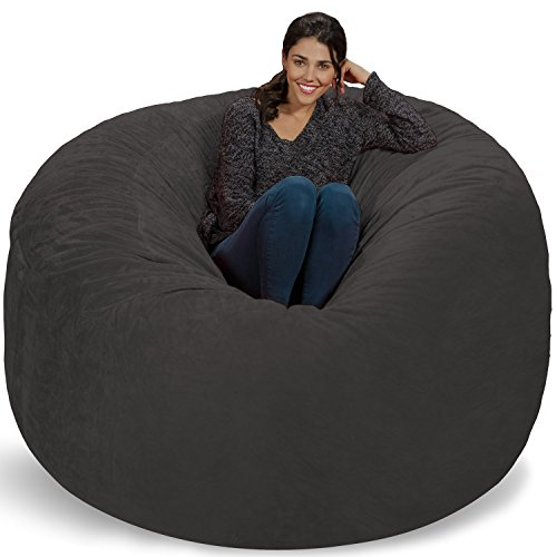 Chill Sack Bean Bag Chair: Giant 6' Memory Foam Furniture Bean Bag - Big Sofa with Soft Micro Fiber Cover, Grey Furry