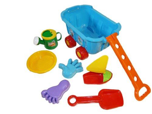 Kinder-Spielzeug B23 7tlg. Set, groß-er Boller-Wagen für Kleinkind-er Sand-Kasten Schaufel Förmchen Gießkanne Boot Strand-Spielzeuge Geschenk-Idee Geburtstag-e