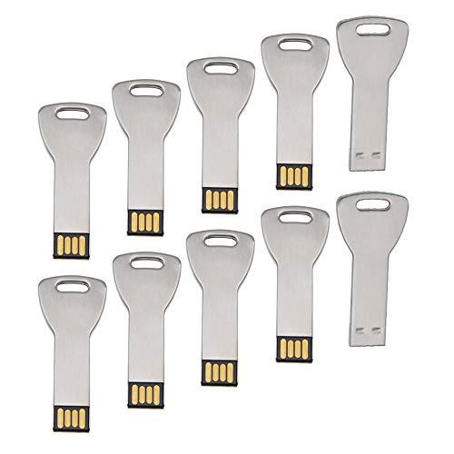 Uflatek 2 GB Pendrive Pack of 10 Llave Memoria USB 2.0 Flash Drive Metal Plata U Disco Alta Velocidad Unidad Flash USB Divertido Memory Stick Almacenamiento de Datos para Regalo
