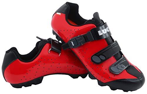 LUCK Zapatillas de Ciclismo MTB ODÍN con Suela de Carbono y Cierre milimétrico de precisión. (46 EU, Rojo)