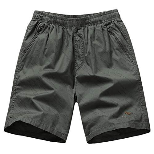 Alikey 2019 Strandbroek, casual, van katoen, gestreept, met elastische tas, voor mannen, heren, shorts, zwembroek, badpak, bermuda, lange broek, sport, strand, sneldrogend