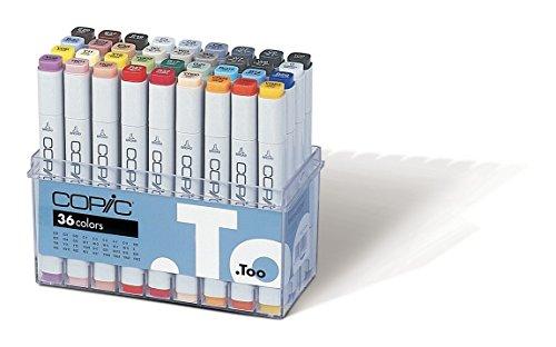 COPIC Classic Marker Set mit 36 Farben, professionelle Layoutmarker, alkoholbasiert, im praktischen Acryl-Display zur Aufbewahrung und einfachen Entnahme