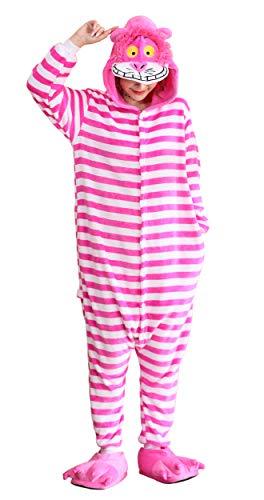 FunnyCos Einteiler für Erwachsene, Tier-Pyjama, Unisex, Halloween, Cosplay, Kostüm, Loungewear Gr. X-Large, Grinsekatze