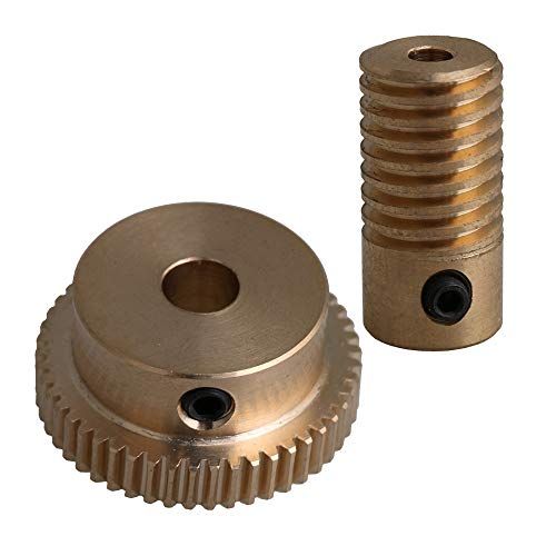 CNBTR 3mm Bore Dia Brass Worm Gear Shaft + 6mm 50T Brass Worm Gear Wheel 1:50 Reduction Ratio 0.5 Modulus Set