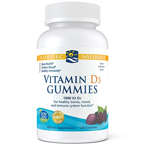 Nordic Naturals Vitamin D3 Gummies, Wild Berry - 1000 IU Vitamin D3 - 120 Gummies - Great Taste - Healthy Bones, Mood & Immune System Function - Non-GMO - 120 Servings