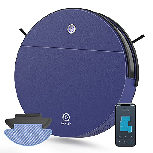 OKP Robot Vacuum Cleaner, 2 in 1 Robot Vacuum and Mop with 2000pa Strong Suction,WiFi-Connected and Self-Charging for Pet Hair Carpet and Hardfloor