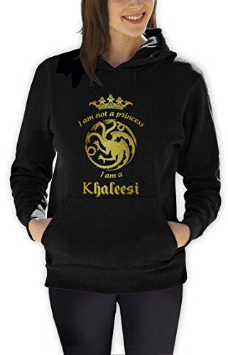 Game I'm Not A Princess I'm A Khaleesi Thrones Damen Schwarz Large Kapuzenpullover Hoodie