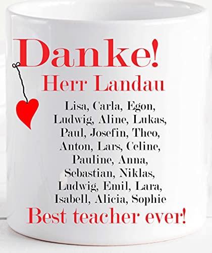 Geschenk Tasse Lehrer Lehrerin Erzieherin mit Wunschtexten - Abschied- Abschluss- Geburtstag- Geschenk Lehrer - personalisierte Kaffee-Tasse Becher mit Namen