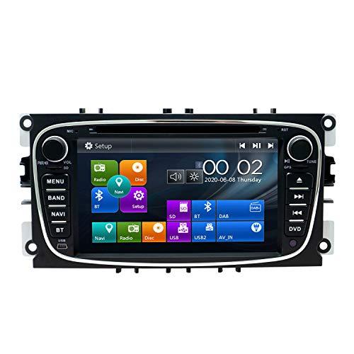 SWTNVIN Radio estéreo para Coche Compatible con Ford Mondeo Focus Fusion Transit Fiesta Galaxy 7 Pulgadas GPS Navigator Doble DIN Unidad de Cabezal Soporte Video Bluetooth SWC DVD Player (Negro09)