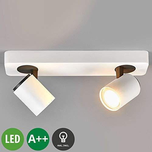 Lindby LED Deckenlampe 'Sean' (Modern) in Weiß aus Aluminium u.a. für Flur & Treppenhaus (2 flammig, GU10, A++, inkl. Leuchtmittel) - Deckenleuchte, Wandleuchte, Strahler, Spot, Lampe, Flurleuchte