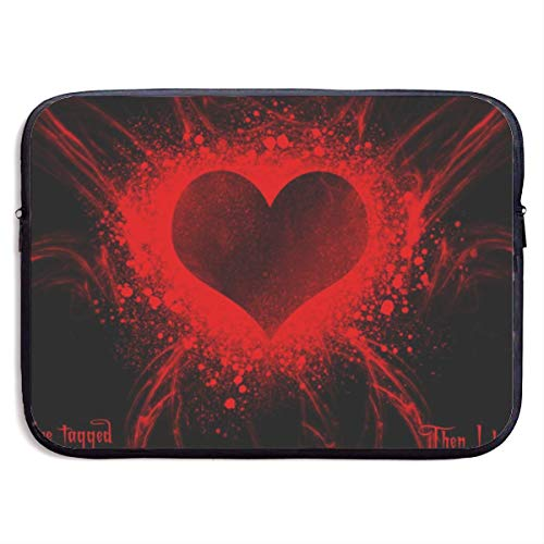 Laptop Case Red Heart with Black Laptop Sleeve Protective Case Water-Resistant Neoprene Briefcase 15 Inch
