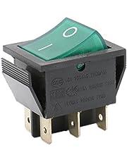 Heschen Interruptor basculante ON-OFF DPDT 6 terminales luz verde iluminado 16A 250VAC 2Pack de 2