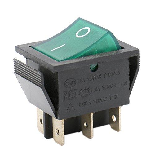 Heschen Interruptor basculante ON-OFF DPDT 6 terminales luz verde iluminado 16A 250VAC 2 unidades