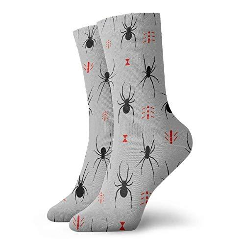 QUEMIN Latrodectus Black Widow Spider Pattern Calcetines Calcetines cortos deportivos clsicos de ocio Adecuado para hombres, mujeres, calcetines deportivos, cmodos, transpirables, casuales, 30 cm